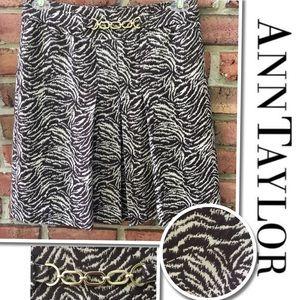 Ann Taylor Brown Zebra Print Pleated Skirt Size 4